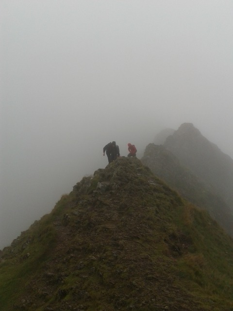 Striding edge near to the top of Helvellyn in the Lake District