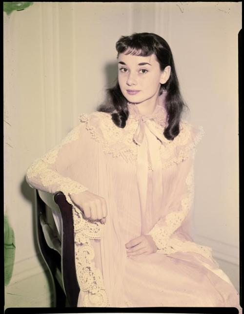 Audrey Hepburn photographed as her stage character Gigi, 1951. Photo by Arthur Rothstein.