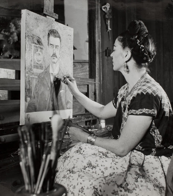 Gisele Freund     Frida Kahlo Painting a Portrait of Her Father, Antonio Kahlo     c.1951