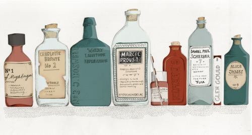"""Bottles for Nine Hypochondriacs"" by Kristyna Litten Proud to have published a book by one of these famous hypochondriacs, a memoir of a second, and the first biography of a third. [via Playground Mutiny]"