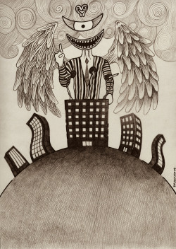 'anđeo uništenja', 'el angel exterminador', pencil on paper, 2013.