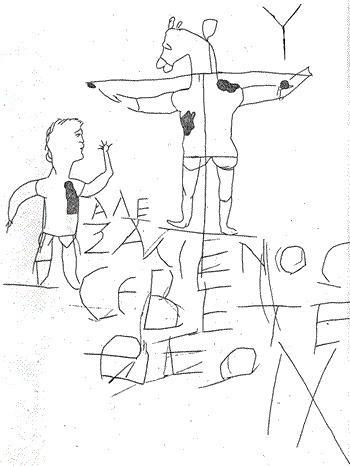 Alexamenos worships his god. 3rd century CE. Roman Graffito, when crucifixions were nothing to get all excited about.