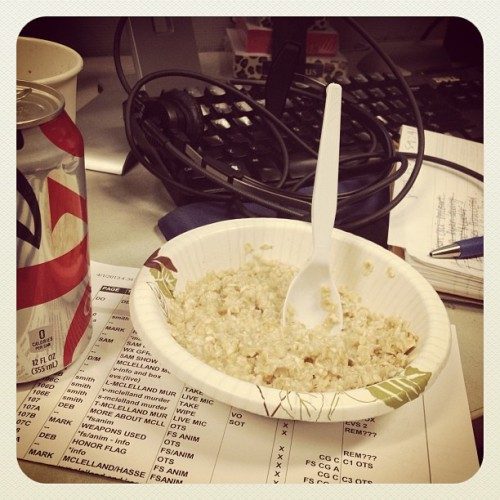 Typical breakfast of champions for an AM producer. Oatmeal, coffee and diet coke.