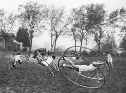May 11, 1929: An international Rhönrad contest in Würzberg, Germany. The Rhönrad, or German wheel, was invented in 1925 and apparently shown at the 1936 Berlin Olympics, but was not entered as an official sport. Photo: The New York Times