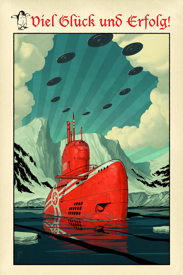 notpulpcovers:  Nazi sub and UFOs
