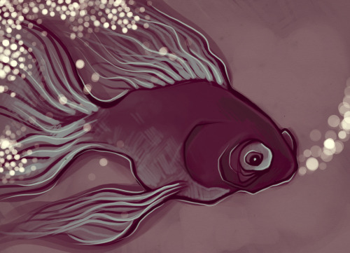 Painting warmup!  I just can't help but draw fish, there is probably a deep psychological problem behind it.