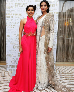 legallyunderage:  m-c-m-prime:  Frieda Pinto and Sonam Kapoor attend a L'oreal cocktail reception during the 66th Annual Cannes Film Festival.  Yasssss