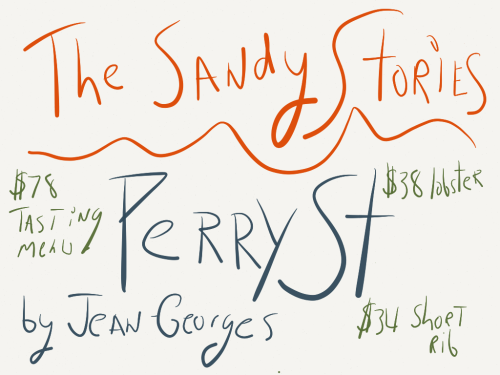 "This week I awarded two stars to Jean-Georges and Cedric Vongerichten's Perry. St, a restaurant that was devastated by Superstorm Sandy. Click through for the full review, but here I thought I'd tease out a few facts about the restaurant, which once sported a Michelin star:  Cost of Sandy-related renovations: $420,000 Cost of Sandy-related staff relocation: $352,000 Estimated loss of business from 4 month closure: $1.12 million. Cost of pre-Sandy tasting menu: $68 Cost of post-Sandy tasting menu: $78  Cost of wicked good good fried chicken: $26 [[MORE]] All things considered, Perry St.'s prices are still quite reasonable. If only the restaurant ditched the backless lounge chairs, where I was sat for dinner one night. And if only Jean-Georges invested in a service staff with a bit more passion, training, and love for the hospitality industry.  Walk into any Danny Meyer restaurant, then walk into Perry St. and you'll see what I mean. Bartenders, who needed to be flagged down to take orders, who shied away from eye contact, and who on one occasion could not be found behind the bar at all for a few moments, made our meal at that part of this neighborhood restaurant a relatively unwelcoming experience. I hope Perry St. sets the hospitality (and wine program) right, because the restaurant has such a amazing story to tell, having recovered from the worst storm to ravage our city in a generation. And yet the service I received on the first two visits wouldn't have passed muster at a corporate airport lounge (props to the fine & friendly service on visit number three). A neighborhood restaurant should be like ""Cheers,"" a place where everyone knows your name. The eight-year old Perry St. is not yet that restaurant."