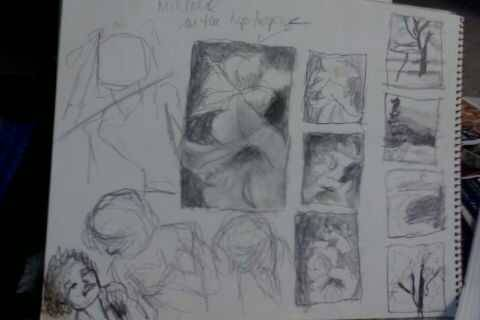 Today's  sketching and thumbnails and compositions and ideas.