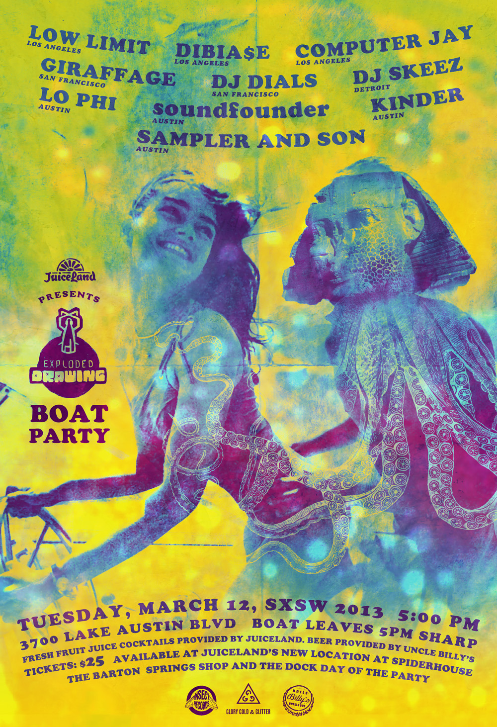 1st of Two Events we are throwing this year. Tuesday March 12, 2013. Boat leaves at 5pm and returns back at 9pm.  You can get tickets by going to JUICELAND here in Austin, TX. We will also have a few tickets at the dock and will be first come, first served. CLICK COVER FOR MORE INFO