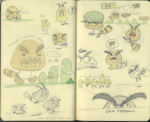 I think this sketchbook page is from when the existence of Tanooki Goombas was revealed to the world.  I was pretty pleased.