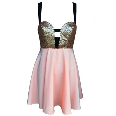 Dress   ❤ liked on Polyvore (see more pink sequin dresses)