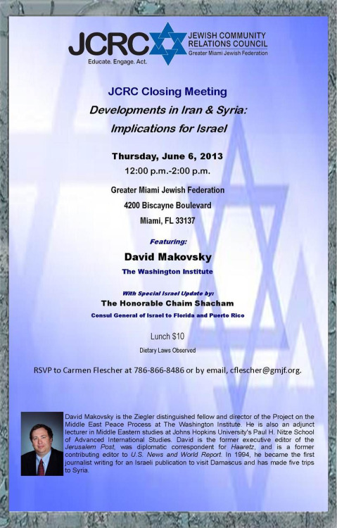 Join us for this special luncheon featuring David Makovsky