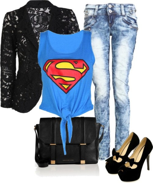 Super by helsingmusique featuring a black blazer ❤ liked on PolyvoreTie front shirt, $7.58 / Black blazer, $30 / Skinny fit jeans, $30 / Marc by Marc Jacobs