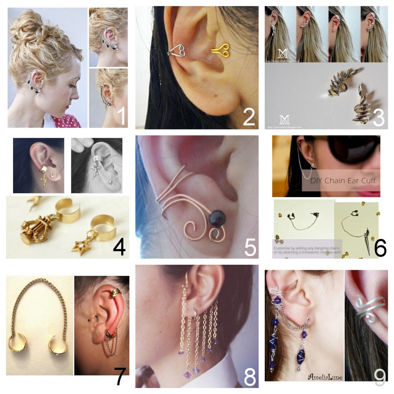 truebluemeandyou:  Roundup of Nine DIY Ear Cuffs I've posted.  Rhinestone Ear Cuff Tutorial from Transient Expression here. Wire Ear Cuffs Two Ways Tutorial from Essas Frescurites here. Easy Earrings to Ear Cuffs Tutorial from A Matter of Style here. Ear Cuffs with Charms Tutorial from Hello Whimsy Blog here. Ear Cuff found at Little Bit Crafting using a tutorial from Cut Out + Keep here. Ear Cuff Tutorial form My Little Secrets here. Feather Charms and Chain Ear Cuff Tutorial from Prudence and Austere here. Ear Cuff with Chains and Beads Video Tutorial from Boat People here. Basic Ear Cuff (right) and then Expanded Version with Wrapped Wire Earrings (left) Tutorial from Amelia Lune here.