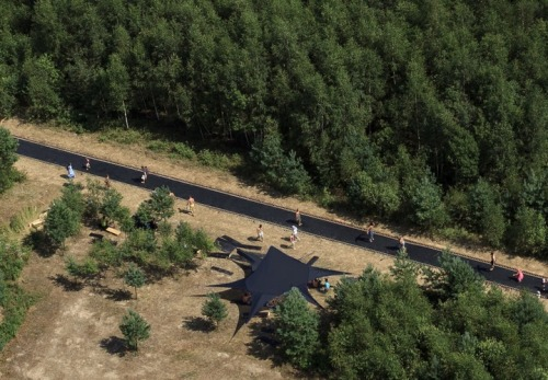 'Fast track', a 170ft long trampoline in Nikola-Lenivets, Russia. By Salto