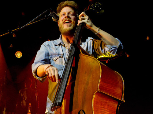 Ted Dwane of Mumford & Sons performs at Falkoner in Copenhagen, Denmark on 8th April, 2013. Photo © WENN.com.