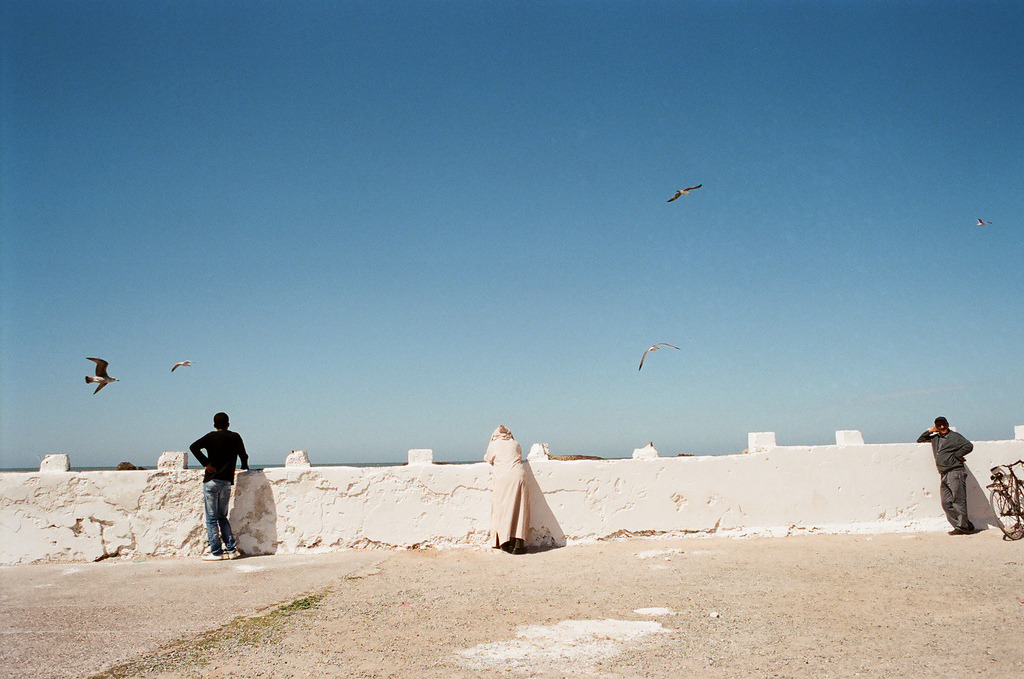 Sea Watchers  Nikon F3 | Fuji 400H pulled to 100  Essaouira, Morocco