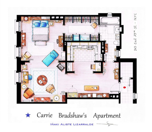 Carrie's apartment. My first apartment in NY is gonna be like this! ps. I don't know the source.