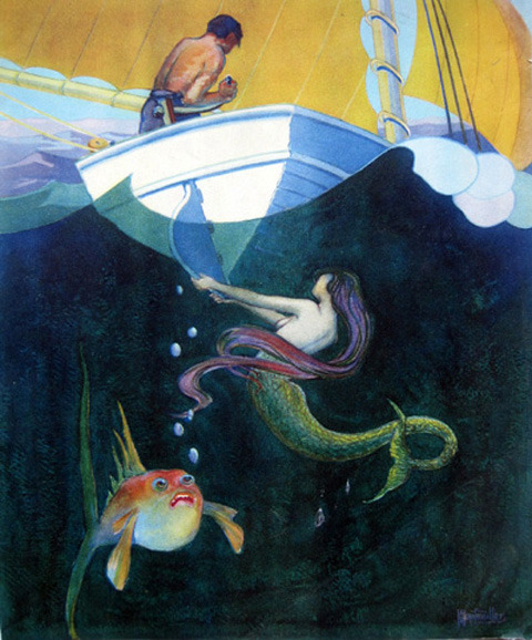 sisterwolf:  Mermaid!  A.M. Hopfmuller, 1920s
