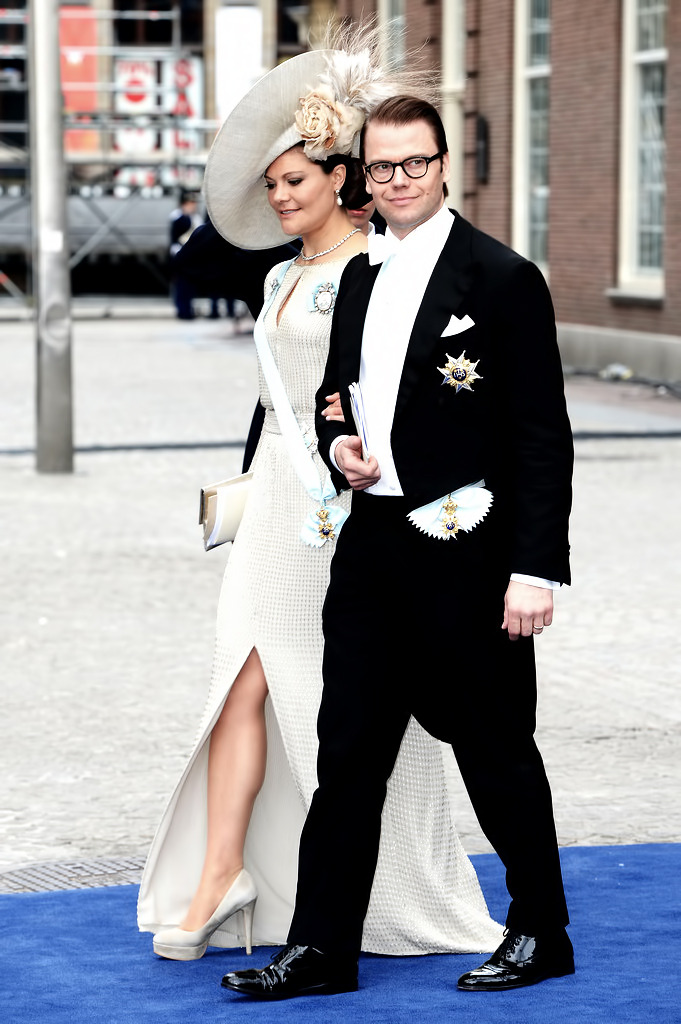 Crown Princess Victoria and Crown Prince Daniel of Sweden depart the Nieuwe Kerk after the abdication of Queen Beatrix of the Netherlands and the Inauguration of King Willem Alexander of the Netherlands on April 30, 2013 in Amsterdam, Netherlands.