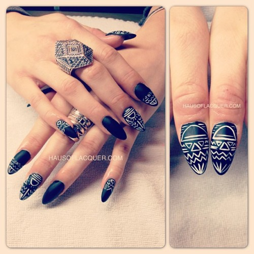 hausoflacquer:  Tribal matte black acrylic talons for @h3atheeer! These nails are gonna have a blast in January!! #nailart #nails #nailswag #nailporn #talons #acrylic #tribal #black #matte #holoriginal #holdesign #bossynails #acrylicsculpture #nailtech