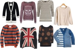 Jumpers! by jessmess featuring a skull shirtAbercrombie & Fitch  / H&M long sleeve shirt, $24 / AX Paris jumper sweater, $33 / Dorothy Perkins striped shirt, $32 / Long sleeve knit shirt / Stripe sweater / AX Paris polka dot shirt, $41 / Skull shirt, $37