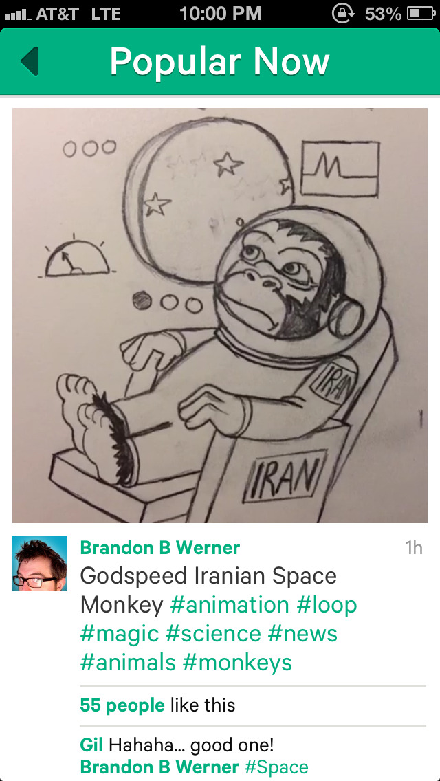 My vine is now #4 in Popular now. Space Monkeys are my jam. http://vine.co/v/bJgLVAQIiZq