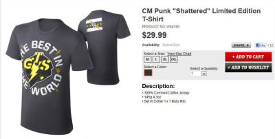 "thepunknation:   CM Punk ""Shattered"" Limited Edition T-Shirt (WWEShop)"