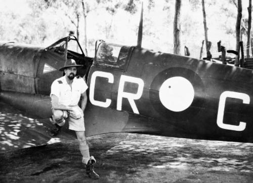 wingsofwar:  Commemorating ANZAC Day…Australians Aviators at War Image #3: Australia's leading ace of World War Two, Clive 'Killer' Caldwell and his Supermarine Spitfire, 452 Squadron (part of the 1 Wing RAAF) in defence of Darwin, 1943.