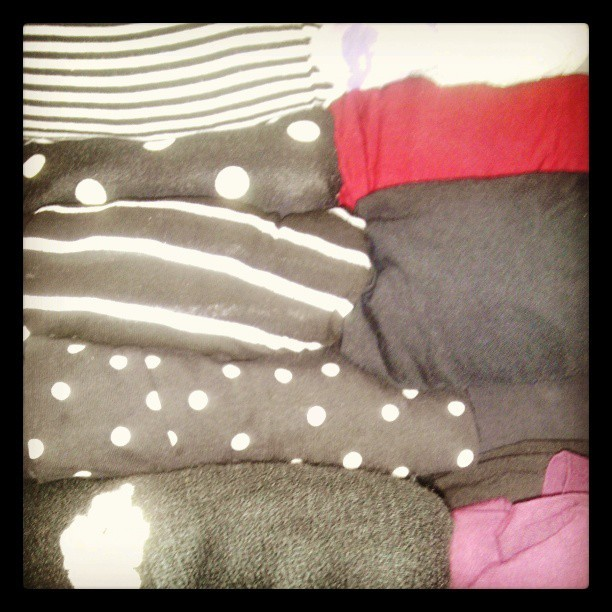 My #wardrobe. I sense a pattern here. #black-and-white #bw #fashion #stripes #polkadots #monochromatic #style