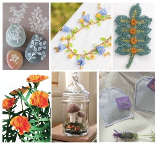 Pretty collection of flower projects—stamping, beading, crochet, paper, needle felting, and stitching—all from Lark books currently featured in a 50% Off Spring Book Sale: http://www.larkcrafts.com/craft-your-life/celebrate-spring-with-these-free-flower-projects/