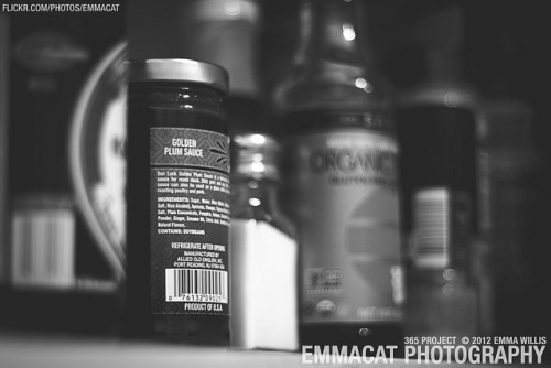 "Stuff In The Cabinets - 168/365 B&W on Flickr.Via Flickr: Sorry it's now 2013 and I'm still working on the editing from the 365 project from 2012. I am happy to say that I did take photos every day!  Fairly certain this was a sick day, so here is an ""artsy photo"" of stuff in my cabinets. Obviously before I knew I had celiacs haha."