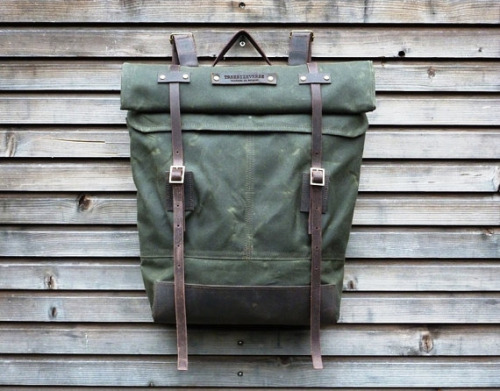 manchannel:  Waxed Canvas Rucksack by TreeSizeVerse