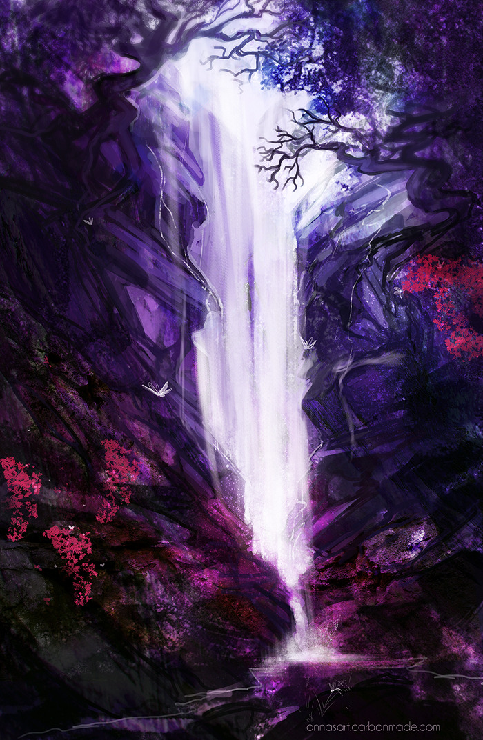 visual-joy:  Violet waterfall by *iZonbi