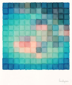 sarajea:  Polaroid Pixels VI (Crabapple) Photographs re-imagined as watercolor paintings.  A late summer project. This image is available in my shop.