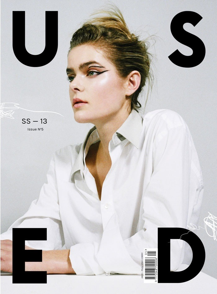 USED Magazine SS/13 cover featuring Models1's Jess Gold, photography by Lena C. Emery, fashion by Katy Lassen, make up by Nami Yoshida and hair by Roku Roppongi.   Art direction and design by USEFUL.