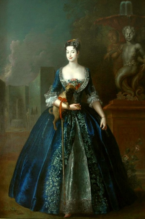 cointrelles:  Portrait of Anna Orzelska with a pug, by Antoine Pesne, c. 1728