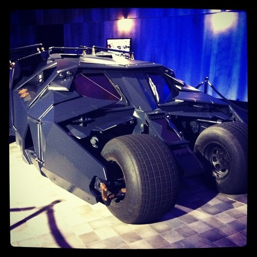 Batmobile at #darkknightrises exhibit @lalive (at LA Live event deck)
