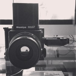 Working the #mamiya #rz67 with #fuji #film thru the #polaroid back coupled with my new #profoto lights.