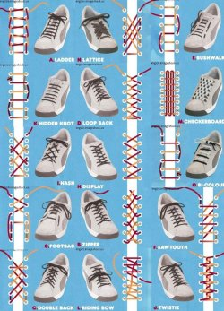 hushing:  shoelaces versus book binding  enjoyable sillyness