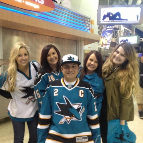 Four women and one dude. Sharks game April 3rd, 2013.