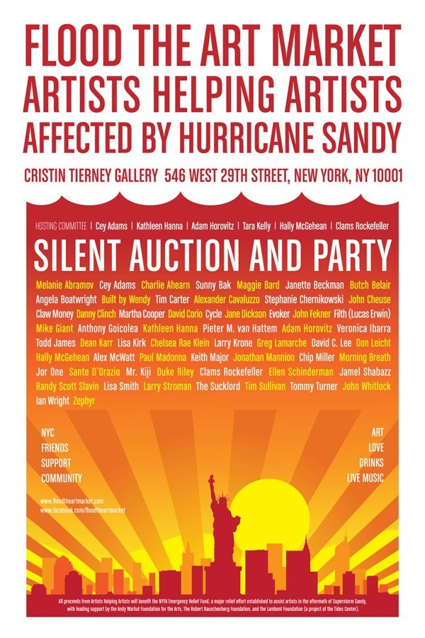 New York, NY:  Make sure to check out Flood The Art Market SIlent Auction and Party which opens tonight at Cristin Tierney Gallery.  The show will feature works by artists including Angela Boatwright, Cycle, Evoker, Adam Horovitz, Larry Krone, Mr. Kiji, Jor One, Mike Giant, Morning Breath, and tons more!