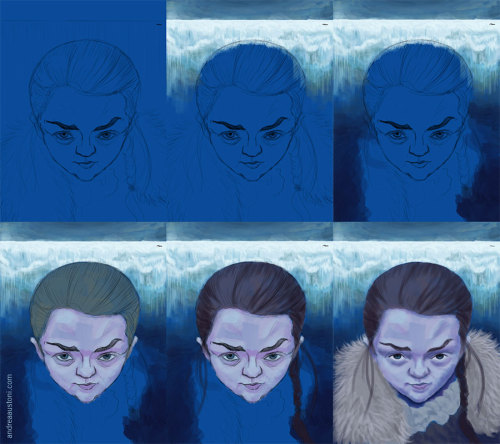 Game Of Thrones - featuring Maisie Williams as Arya Stark.As you can see from the process shots (click them for a bigger view) as the painting took shape I went into another, gloomier direction for Arya, putting more emphasis on The Wall.The cheesy title was too much fun to omit.