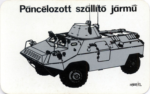 Páncélozott szállító jármű. Néphadseregünk technikája kártyanaptár, 1974. Armoured personnel carrier. Card calendar of the Hungarian People's Army, 1974.