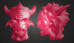 A digital sculpt of a demons head. Quick sketch. Fooling around in Zbrush!