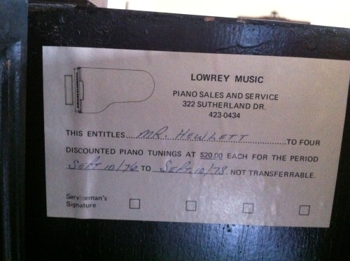 One of our technicians found this little piece of history on a recent service call.  This label was from our very early days of selling pianos and even though it is over 35 years old, we still have the same phone number!