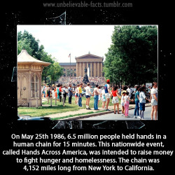 On May 25th 1986, 6.5 million people held hands in a human chain for 15 minutes. This nationwide event, called Hands Across America, was intended to raise money to fight hunger and homelessness. The chain was 4,152 miles long from New York to California.
