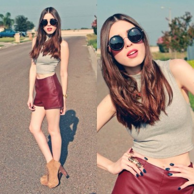 lookbookdotnu:  Burgundy Leather Shorts (by Mariana Perez)