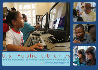 "Report: Libraries put BTOP funds to work, strengthening communities nationwide The ALA's ""U.S. Public Libraries and Broadband Technology Opportunities Program"" is the first to highlight state and local library BTOP projects nationwide and the improvements they have made to public access technology resources, digital literacy, and workforce development. Library projects in 29 states and the District of Columbia are featured in the report. ""Libraries have served as first responders in these tough economic times,"" said ALA President Maureen Sullivan. ""Millions of Americans have turned to us to gain new technology skills and access to specialized resources. BTOP has helped to enable expanded services and to develop the improved infrastructure to meet these community needs."" Highlights: Nearly all statewide library projects include digital literacy training. More than 367,000 Coloradans increased their digital literacy skills through that state's BTOP project. Ninety-five percent of those who took formal classes in Colorado stated they learned a valuable skill and would recommend the classes to others. Nearly 600 people who participated in New York State Library's ""Broadband Express @ your library"" programs and used online job resources went on to secure employment. The Nebraska Library Commission has more than doubled its grant goal, which was to upgrade broandband speeds for 45 libraries in this mostly rural state. Of the 101 libraries upgraded so far, the average speed moved from 2.9 Mbps to 21.4 Mbps. Alaska, Delaware, Maine, Oklahoma and Rhode Island have established new videoconferencing capabilities in several, if not all, libraries in their states. The Maine State Library is deploying its statewide network to provide legal information clinics through the Volunteer Lawyers Project. The clinics are offered in real time, allowing patrons at multiple locations, and especially in rural locations, to attend and ask questions directly of the presenting attorney."